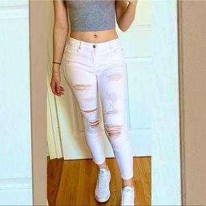 Garage White Ripped Crop Jeans
